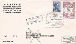 FIRST FLIGHT AIR FRANCE MONTEVIDEO~PARIS BOEING 747 AF 094 1975. CIRCULEE & RETOUR- BLEUP - Uruguay