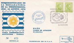 160 AÑOS DECLARACION INDEPENDENCIA, VUELO CONMEMORATIVO MONTEVIDE~FLORIDA 1975, STAMP A PAIR, AUTRES MARQUES- BLEUP - Uruguay