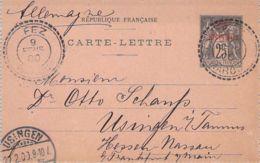 1900 France, French Morocco Postal Card, Carte-Lettre, Fez To Frankfurt Germany - Marokko (1891-1956)