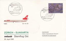 SWISSAIR ZURICH~DJAKARTA DC 10 30 YEAR 1981 FIRST FLIGHT. SUISSE- BLEUP - Luchtpostzegels