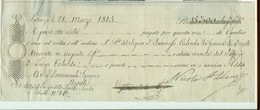CAMBIALE  EMESSA A POTENZA 21 MARZO 1815, PER DUCATI 300 IN ARGENTO,SCADENZA  A VISTA, - Cambiali