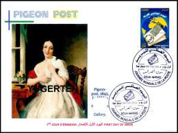 ALJERIJE 2014 - FDC - Postal Services Transportation - Pigeon Post - Taube Paloma Piccione Duif Pombo Barabas Painting - Métiers