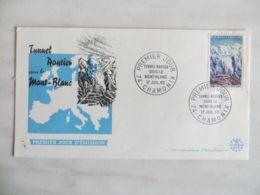 V02) Mont-Blanc-Tunnel 1965, Frankreich, Ersttagsbrief, FDC, Ersttagsstempel - Autos