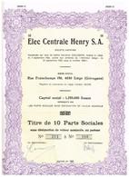 Ancienne Action - Elec Centrale Henry S.A. - Titre De 1982 - Electricité & Gaz