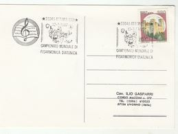 1987  Diatonic ACCORDION  World  CHAMPIONSHIP EVENT COVER Card Music ITALY Attimis Stamps - Music