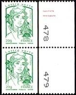 France Marianne De La Jeunesse Par Ciappa Et Kawena N° 4778,P ** Roulette Le 20 Grammes Vert Verso N° à Gauche En Paire - 2013-... Marianne Of Ciappa-Kawena