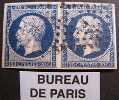 """R1680/159 - NAPOLEON III (PAIRE) N°14Aa Bleu Foncé (sur Support) BUREAU """" J """" DE PARIS - 1853-1860 Napoléon III."""