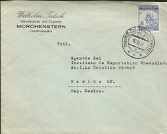 L) 1937 CZECHOSLOVAKIA, SMALL AGREEMENT, BLUE, ARCHITECTURE, PRAGUE, 2.50KC, OLYMPIC, CIRCULATED COVER FROM CZECHOSLOVAK - Czechoslovakia