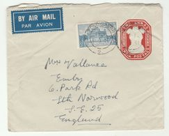 1954 Air Mail INDIA 12a Stamps On UPRATED 2a  POSTAL STATIONERY COVER To GB  Airmail Label - Enveloppes