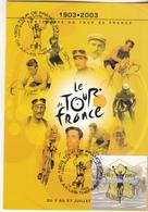 Centenaire Du Tour De France 1903 - 2003 Carte Avec Timbre - Cycling