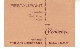 Carte De Visite  Restaurant  97121 Anse-Bertrand  Folie Plage   Chez Prudence - Cartes De Visite