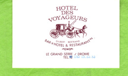 Carte De Visite  Hôtel Des Voyageurs   Le Grand Serre  Drôme - Visiting Cards