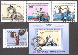 Olympic North Korea 1983 Used FDC 4 Stamps+sheet Mi 2350-53, BL 142 Summer  Olympic Los Angeles - Summer 1984: Los Angeles