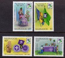 BARBADOS - 1982 SCOUT ANNIVERSARY SET (4V) FINE MNH ** SG 709-712 - Barbades (1966-...)
