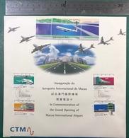 MACAU-CTM 1995 OPENING OF MACAU INTERNATIONAL AIRPORT COMM. PHONE CARD SET + FOLDER + STAMPS&S\S & FIRST DAY CHOP - Macau