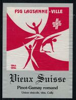 Rare // Etiquette De Vin // Gymnastique // Pinot-Gamay, FSG Lausanne-Ville - Etiketten