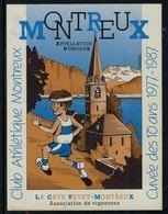 Rare // Etiquette De Vin // Athlétisme // Montreux, Club Athlétique Cuvée Des 10 Ans 1977-1987 - Etiquettes