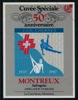 Rare // Etiquette De Vin // Gymnastique // Salvagnin, 50ème Anniversaire F.S.G. Chernex Sur Montreux 1937-1987 - Etiketten