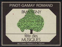 Rare // Etiquette De Vin // Musique // Pinot-Gamay, Pampigny, L'écho Du Chêne Fête Des Musiques 1988 - Musique