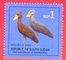 SOUTH SUDAN MNH 1 SSP Birds Shoe-billed Stork Stamp, 2nd Set 2012 Südsudan Soudan Du Sud - Sudán Del Sur