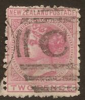 NZ 1874 2d Rose FSF SG 181 U #AUA15 - 1855-1907 Crown Colony
