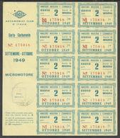 Carta Carburante ACI Buoni 2 Unità Benzina Settembre/ottobre 1949 Per MICROMOTORE - Altri