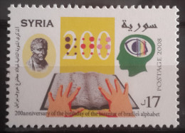 Syria 2008 MNH Stamp - Blind Reading Braille Book, Hands, Louis Braille Issue, Disabled - Syria