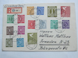 1948 , 2 Mark Taube Im 4er-Block (Rs.) , Einschreiben Aus  Dresden Als 10fach - Frankatur, Rs. Ankunftstempel - Zone Soviétique