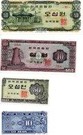 Corée - Lot De 4 Billets - Corée Du Sud