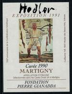 Rare // Etiquette De Vin // Art- Peinture-Tableau // Martigny, Hodler Fondation Gianada - Art