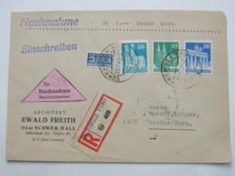 1949 , SCHWÄBISCH HALL , NN - Einschreiben, Rs. Ankunftstempel - Bizone