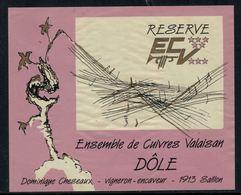 Rare // Etiquette De Vin // Musique // Dôle, Ensemble De Cuivres Valaisan - Musique