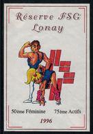 Rare // Etiquette De Vin // Gymnastique // Lonay 1996, Réserve FSG Lonay 50ème Féminine,75ème Actifs - Etiquettes