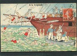 CPA - Illustration - NOS BRAVES MARINS - A La Baignade !!! - Warships