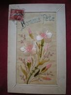 CARTE BRODÉE  - Bonne Fête, Fleurs. - Embroidered