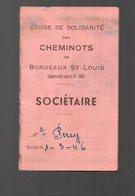 Bordeaux (33 Gironde) Carte De Solidarité Cheminots 1946-47 (PPP16194) - Autres
