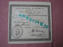 """Collége Royal De Henry IV Année 1826/ 1827  Carte """"Rang D'Exellence"""" - Diplômes & Bulletins Scolaires"""