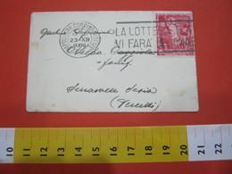 T1 ITALIA ANNULLO TARGHETTA - 1938 NAPOLI LOTTERIA E4 VI FARA' MILIONARI - BUSTINA - FR. IMPERIALE 20 CENT - Giochi