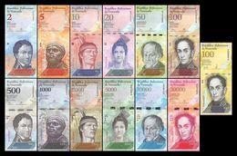Venezuela Full Set 2 5 10 20 50 100 500 1000 2000 5000 10000 20000 100000 Bolívares 2007-2017 Pick New SC UNC - Venezuela
