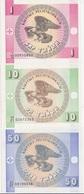 KYRGYZSTAN SET  1+ 10+ 50 TYIYN 1993 P-1-3  UNC - Kirghizistan