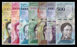Venezuela Set 500 1000 2000 5000 10000 20000 100000 Bolívares 2016-2017 Pick New SC UNC - Venezuela