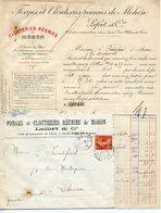 """MOHON 08 FACTURE FORGES ET CLOUTERIES REUNIES 1907 AVEC ENVELOPPE ET RARE 10C SEMEUSE PERFORE """"FCR"""" SUR LETTRE - France"""