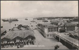 General View Of Colombo Harbour, Ceylon, C.1920s - Plâté RP Postcard - Sri Lanka (Ceylon)