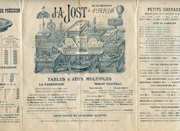 DEPLIANT PUBLICITAIRE JEUX DE PRECISION J.A. JOST A PARIS 1900 - Other Collections