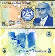 LESOTHO 5 MALOTI 1989 P-10 UNC - Lesotho