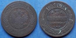 RUSSIA - 3 Kopeks 1903 CПƂ Y# 11.2 Nicholas II (1894-1917) - Edelweiss Coins - Russie