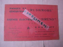 "Trés Beau Catalogue 1910 Phares Generateurs ""RUSHMORE"" Belles Photos - Cars"