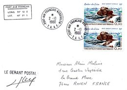 TAAF. PA 57 De 1979 Sur Enveloppe Ayant Circulé En 1980. Rocher Du Lion. - Terres Australes Et Antarctiques Françaises (TAAF)