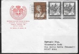 BUSTA INTESTATA S.M.O.M VIAGGIATA CON AFFRANCATURA VATICANO ANNULLO A TARGHETTA - Sovrano Militare Ordine Di Malta