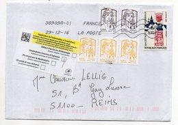 2016-- Lettre Avec Composition De Timbres + Vignette Retour à L'envoyeur --cachets Toshiba - Marcophilie (Lettres)